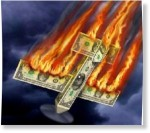 Plane made of dollar bills going down in flames as we move to digital currency instead.