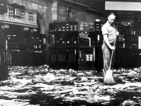 Cleaning up after the stock market crash.