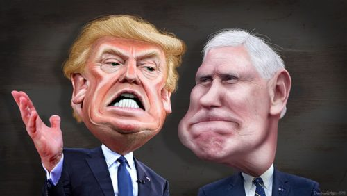 By DonkeyHotey (Donald Trump and Mike Pence - Caricature) [CC BY-SA 2.0 (https://creativecommons.org/licenses/by-sa/2.0)], via Wikimedia Commons
