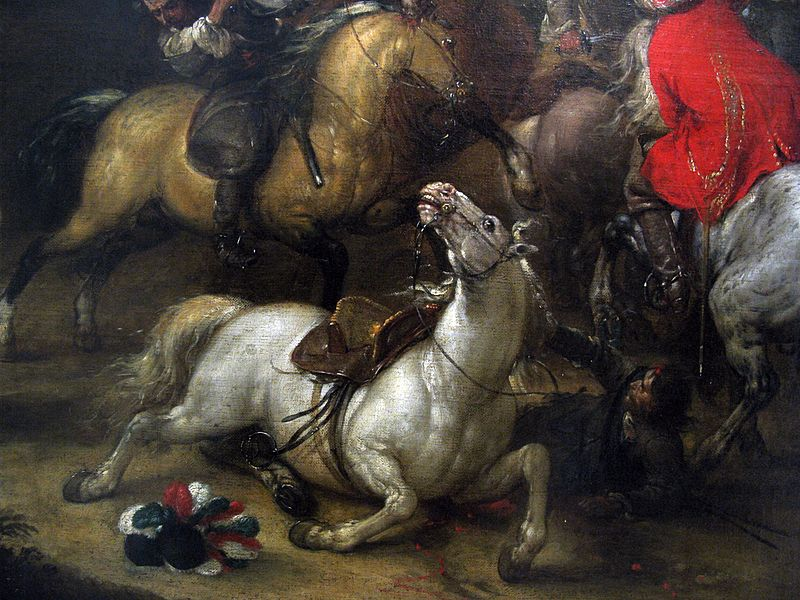 The Great Economic Collapse symbolized in four fallen horses in battle