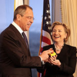 Hillary Clinton's reset button with Russia being pressed by Sergei Lavrov