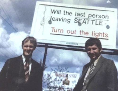 """billboard saying """"Will the last person leaving seattle turn out the lights?"""""""