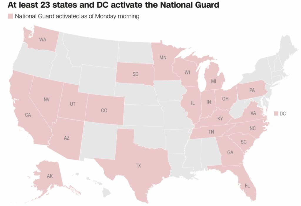 Map of 23 states that have activated the National Guard due to the George Floyd protests.