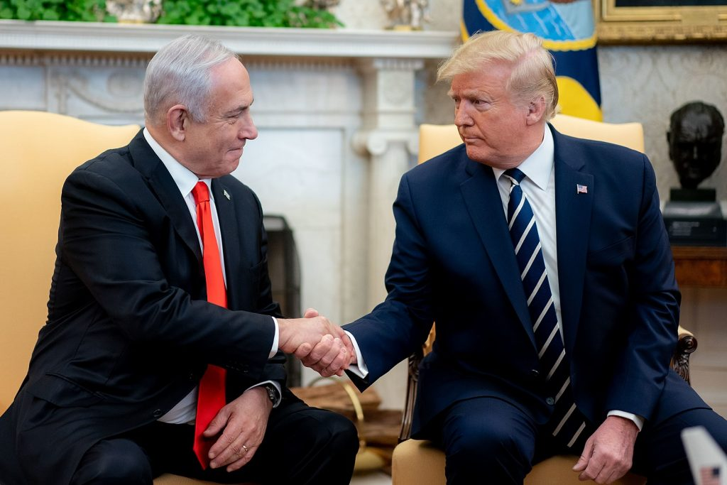 Donald Trump and Benjamin Netanyahu meet in White House.