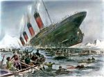 Illustration of the Titanic sinking with iceberg in background