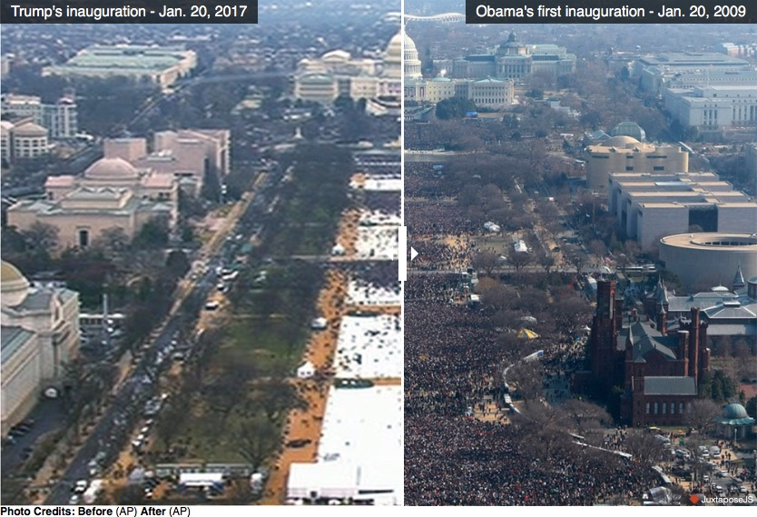 Fake news comparison of photos of Trump's inauguration crowd and Obama's inauguration crowd